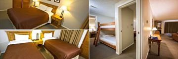 Tantalus Resort Lodge, Master Bedroom, Two Bedroom Bunk Bed Suite and Twin Beds