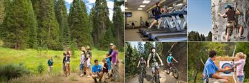 Tenaya Lodge at Yosemite, (clockwise from left): Activity Guide Nature Hike, Gym, Climbing, Archery and Cycling