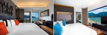 Luxury Sea View Room (left) and Executive Sea View Suite (right) at The Andaman, Langkawi