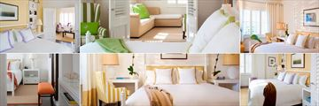 The Betsy, (clockwise from top left): Royal Suite, Superior Suite, Superior Room, Deluxe Room, Classic Room and Classic Suite