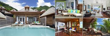 The Hilton Seychelles Northolme Resort & Spa, (clockwise from left): Grand Ocean View Pool Villa Exterior, Bedroom, Sitting Area and View, Oceanfront Villa Balcony and Bedroom