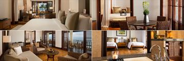 Clockwise from top left: Studio Suite, The Legian Suite, The Seminyak Suite and The Sunset Suite at The Legian Bali