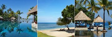 The pool and private Medana beach at The Oberoi Lombok