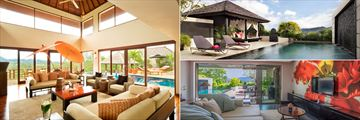 Three Bedroom Pool Villa, Spa & Pool Pavilion terrace and Spa & Pool Pavilion living room