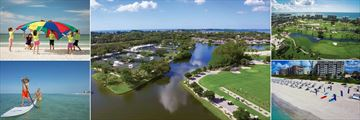 The Resort at Longboat Key Club, Kids Parachute Fun on Beach, Tennis Courts and Driving Range, Golf Course, Beach Activities and Standup Paddle
