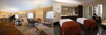 Presidential Suite Living Area and Spa Couples Treatment Room at The Roosevelt New Orleans, A Waldorf Astoria Hotel