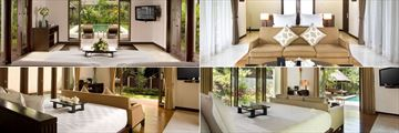 The Samaya Ubud, (clockwise from top left): Three Bedroom, Two Bedroom, One Bedroom Villas and Ayung Villa