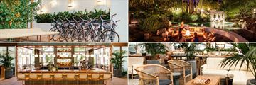 The Scott Resort & Spa, (clockwise from top left): Bikes, Firepit Lagoon, Lobby and Bar