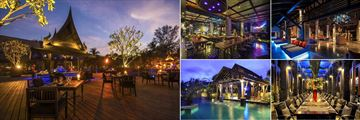 The Slate, Phuket, (clockwise from left): Black Ginger Restaurant Deck, Dirty Monstera, Lobby, Rivet Restaurant and Pulley Bar at Night