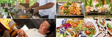 The Sun Siyam Iru Fushi, Teppanyaki Restaurant Chef and Two Dishes and Bamboo Restaurant Dishes and Chef