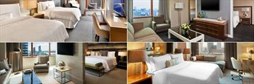 The Westin Times Square New York, (clockwise from top left): Grand Deluxe Double-Double, Junior Suite, Renewal Suite and Presidential Suite