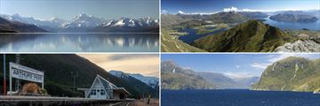 Clockwise from top left: Mt Cook, Wanaka, Doubtful Sound and Arthur's Pass