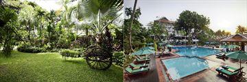 Anantara Riverside Bangkok's garden and pool