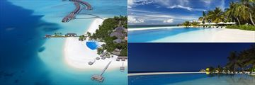 Gorgeous aerial and beach views of Velassaru
