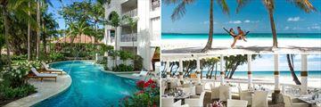 Sandals Barbados; Crystal Lagoon Village Swin-Up Suite, Dover Beach, Schooners Restaurant
