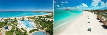 Sandals Emerald Bay aerial view & beachfront