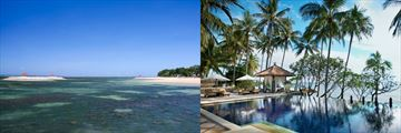 Sanur Beach & Infinity Pool at Spa Village Resort Tembok