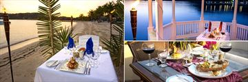 St James Club & Villas, destination dining on the beach and under a gazebo, and dinner at Piccolomondo