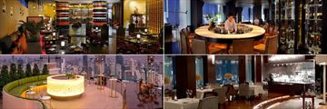 Tower Club at lebua, (clockwise from top left): Cafe Mozu, Distil Bar, Mezzaluna Restaurant and Flute Bar
