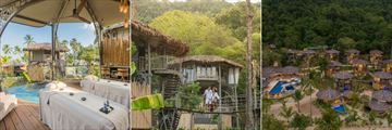 The in-villa spa, the Treehouse Villa walkways and an aerial view of the villas at Treehouse Villas