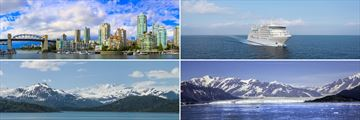 Clockwise from top left: Vancouver, Silver Muse, the Inside Passage and Hubbard Glacier