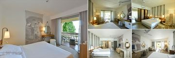 Veranda Paul and Virginie, (clockwise from left): Comfort Room, Superior Room Terrace and Interior, Privilege Room Terrace and Interior