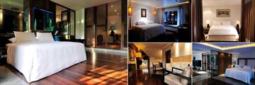 Villa Samadhi, (clockwise from left): Luxe Crib, Crib, Sarang, Luxe Sarang, The Loft Sitting Area and Bedroom