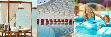 W Abu Dhabi, Yas Island, Beach Cabana, Pool and Sun Loungers and Waterworld Lazy River