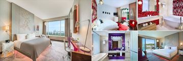W Singapore - Sentosa Cove, (clockwise from left): Wonderful Room, Away Room, Away Room Bathroom, Fabulous Room and Fabulous Room Bathroom