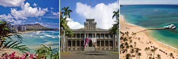 Waikiki Beach & Iolani Palace, Honolulu Island