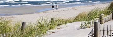 Walking along a beach in Cape Cod, Massachusetts