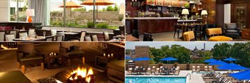 Washington Hilton, (clockwise from top left): District Line Restaurant, Coffee Bean Cafe, Pool and Courtyard Firepit