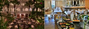 Winchester Mansions, Harveys Restaurant Courtyard, Interior and Breakfast Buffet