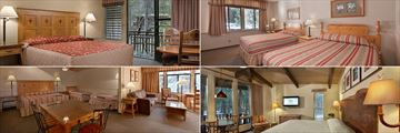 Yosemite Valley Lodge, (clockwise from top left): King Room, Double Room, Room Interior and Family Room