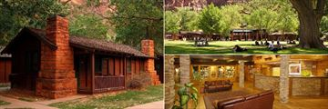 Zion National Park Lodge, Outside Lodge and Lawn and Lobby