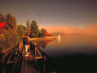 Walkway by lake