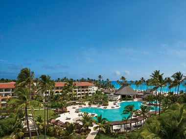 Aerial view of pools at Now Larimar Punta Cana Resort