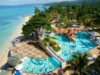 Aerial view of the pools at The Jewel Dunn's River Resort