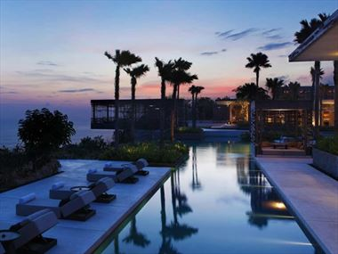 Infinity pool and sunset cabana