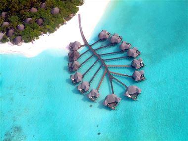 Coco Palm Dhuni Kolhu, aerial of Lagoon Villas