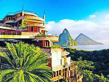 View of the pitons from Jade Mountain