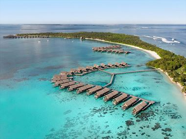 Aerial view of Shangri-La Villingili Resort