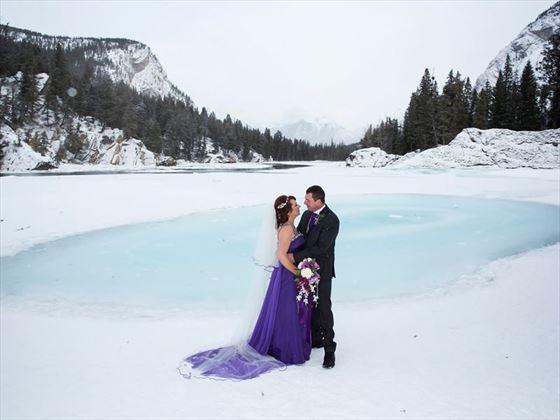 Bride & Groom on Bow Falls, Banff