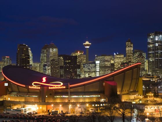 Saddledome with Calgary skyline behind