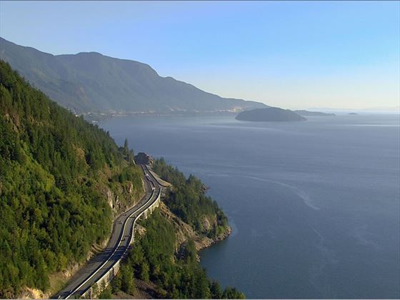 The Sea to Sky Highway between Vancouver and Whistler