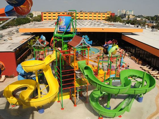 Aerial view of waterslides