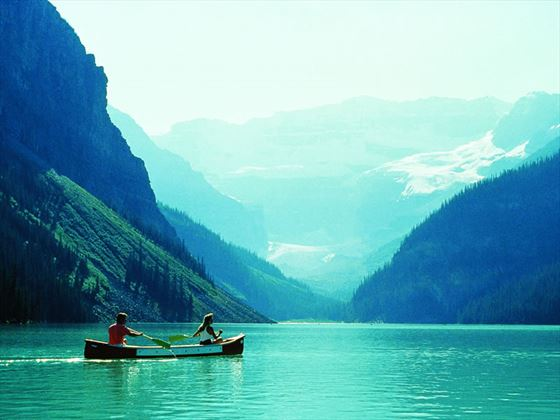 Canoeing on Lake Louise, Fairmont Chateau Lake Louise