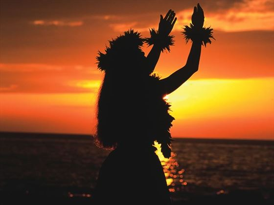 Hula girl enjoying the sunset, Hawaii
