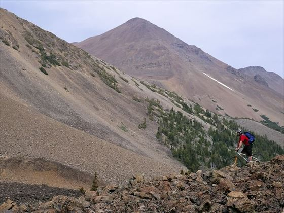 Mountain biking at Razorback Mountain near Kamloops