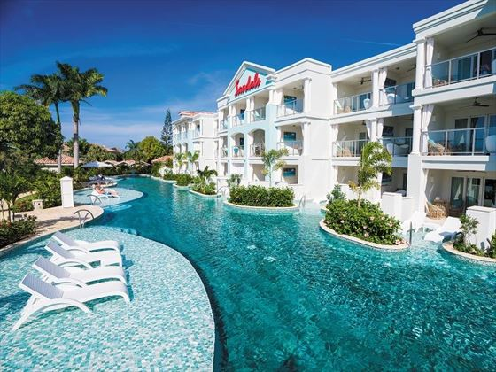 The pool and resort view at Sandals Montego Bay
